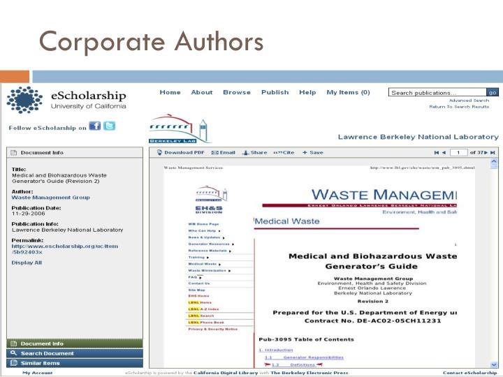 Corporate Authors