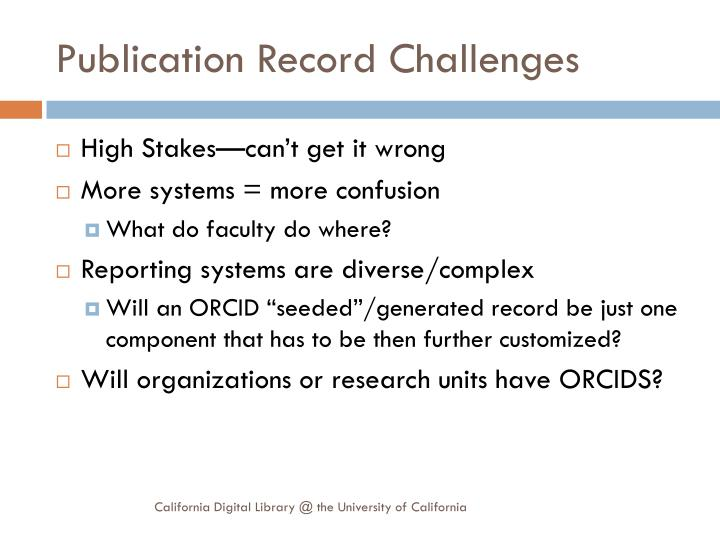 Publication Record Challenges