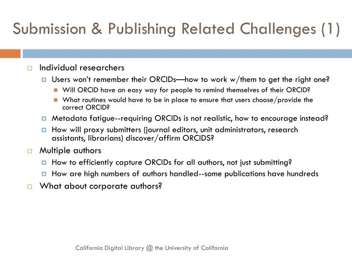 Submission & Publishing Related Challenges (1)