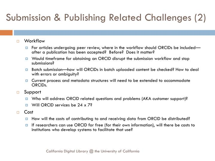 Submission & Publishing Related Challenges (2)