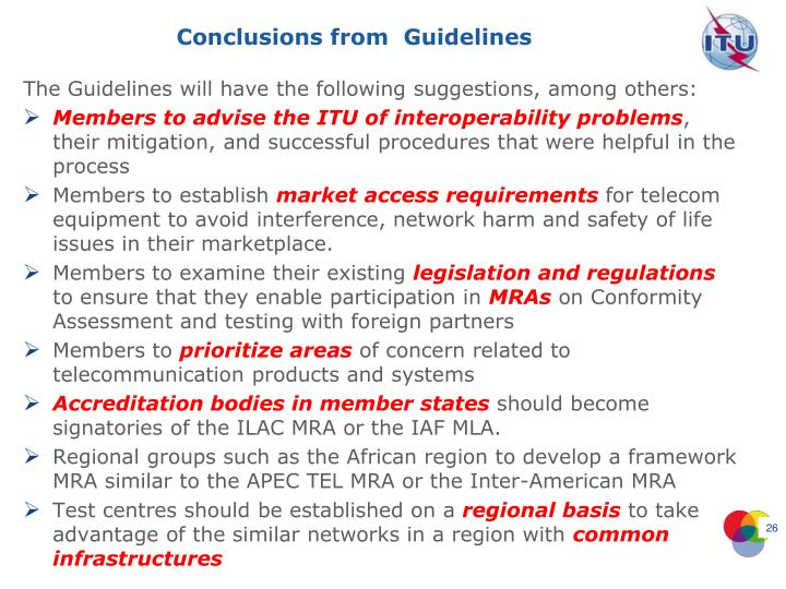 Conclusions from  Guidelines