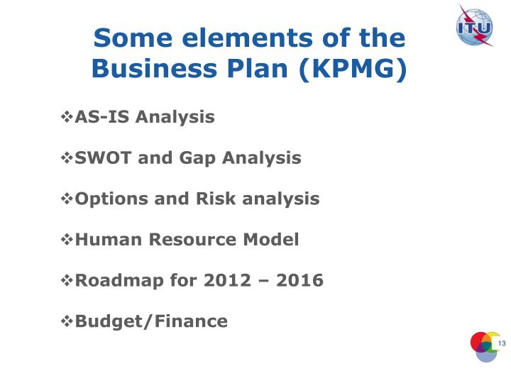 Some elements of the Business Plan (KPMG)