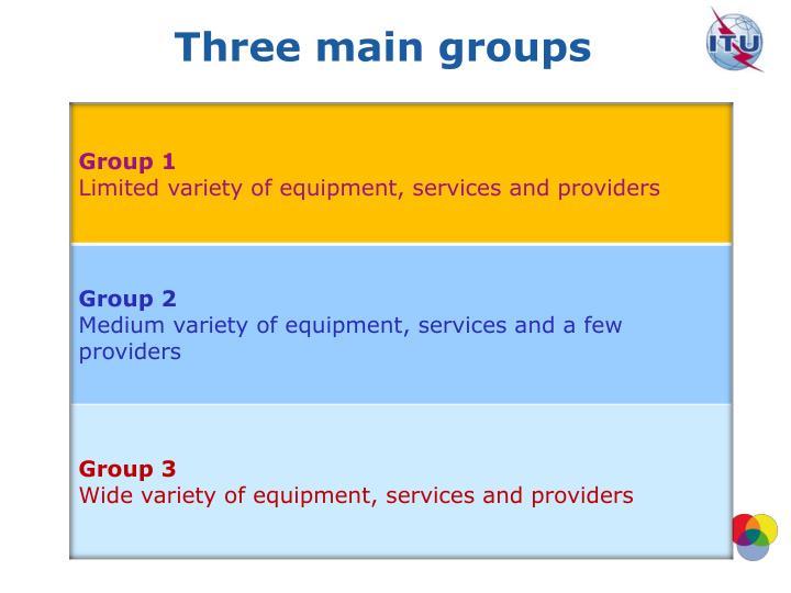 Three main groups