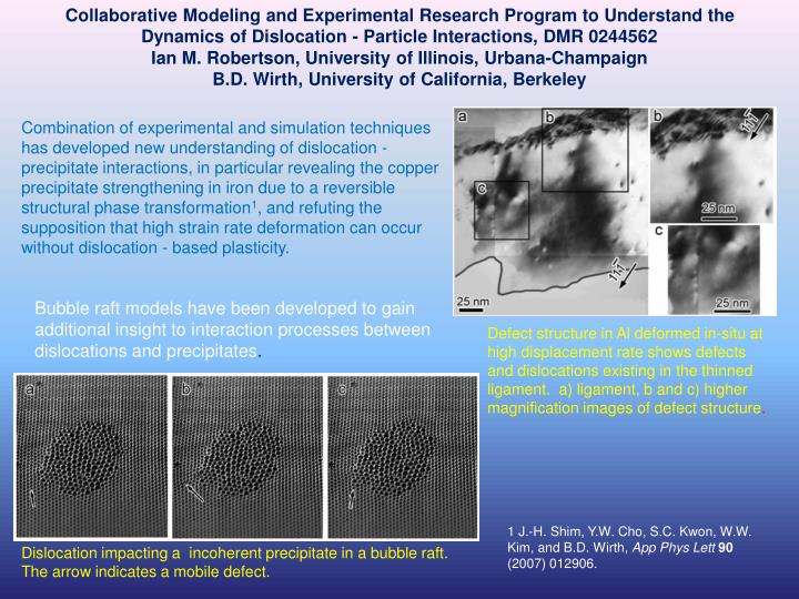 Collaborative Modeling and Experimental Research Program to Understand the Dynamics of Dislocation -...