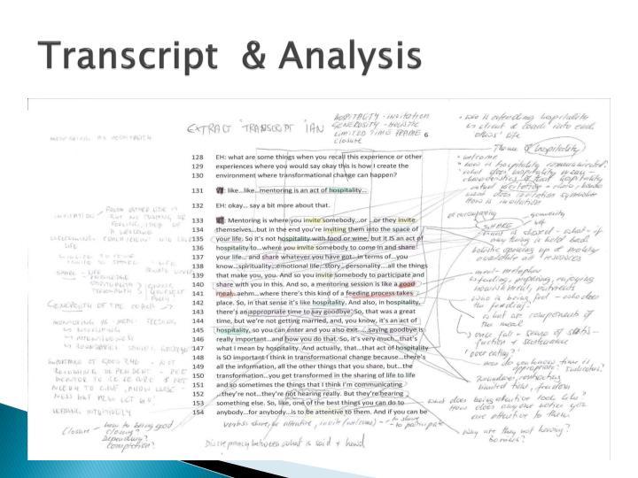 Transcript  & Analysis