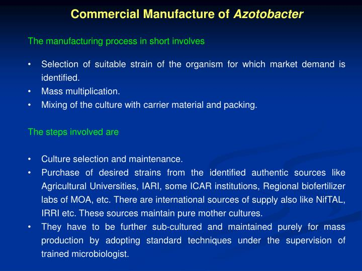 Commercial Manufacture of