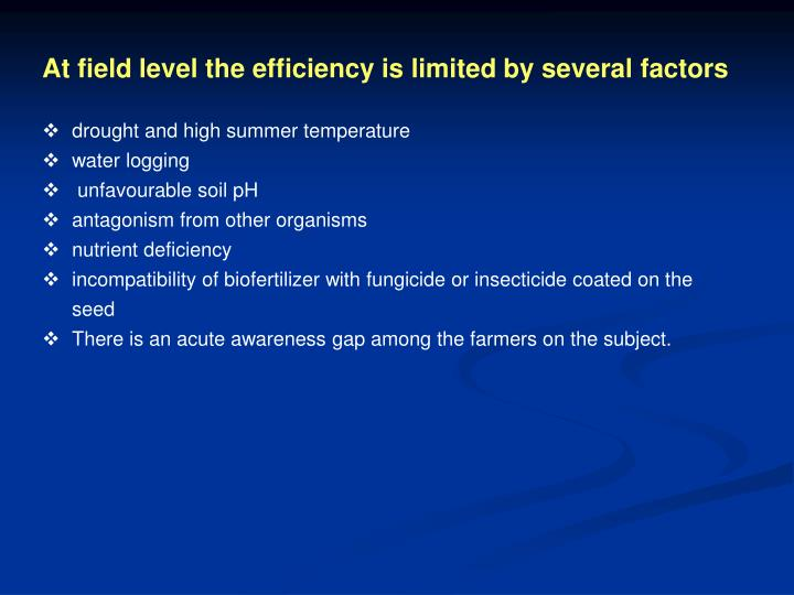 At field level the efficiency is limited by several factors
