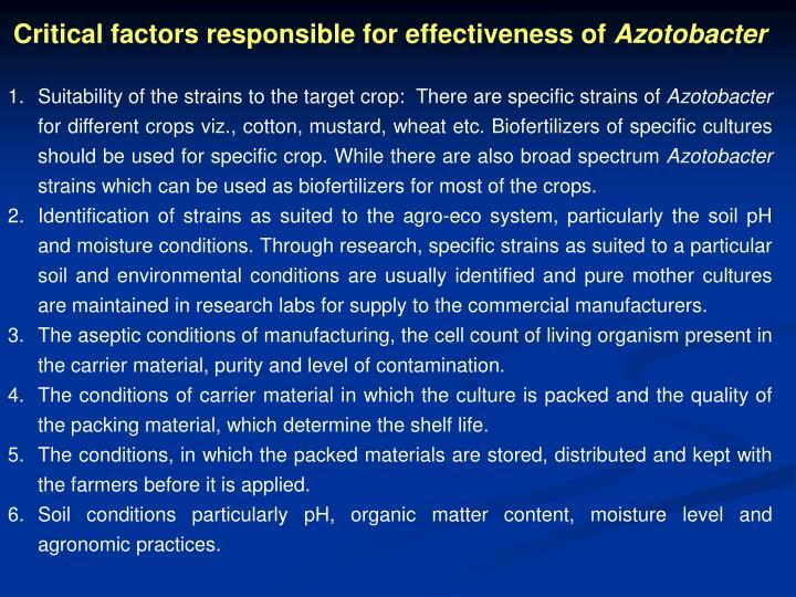 Critical factors responsible for effectiveness