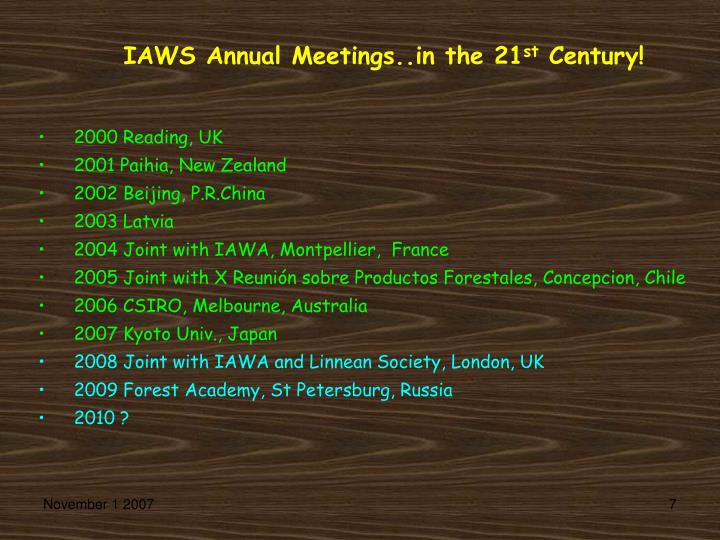 IAWS Annual Meetings..in the 21