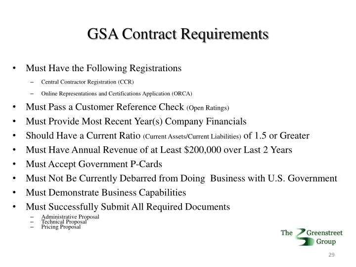 GSA Contract Requirements