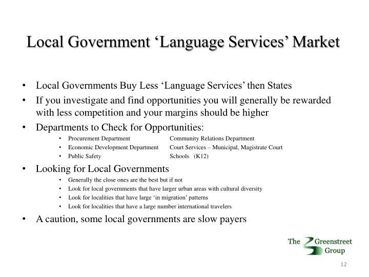 Local Government 'Language Services' Market