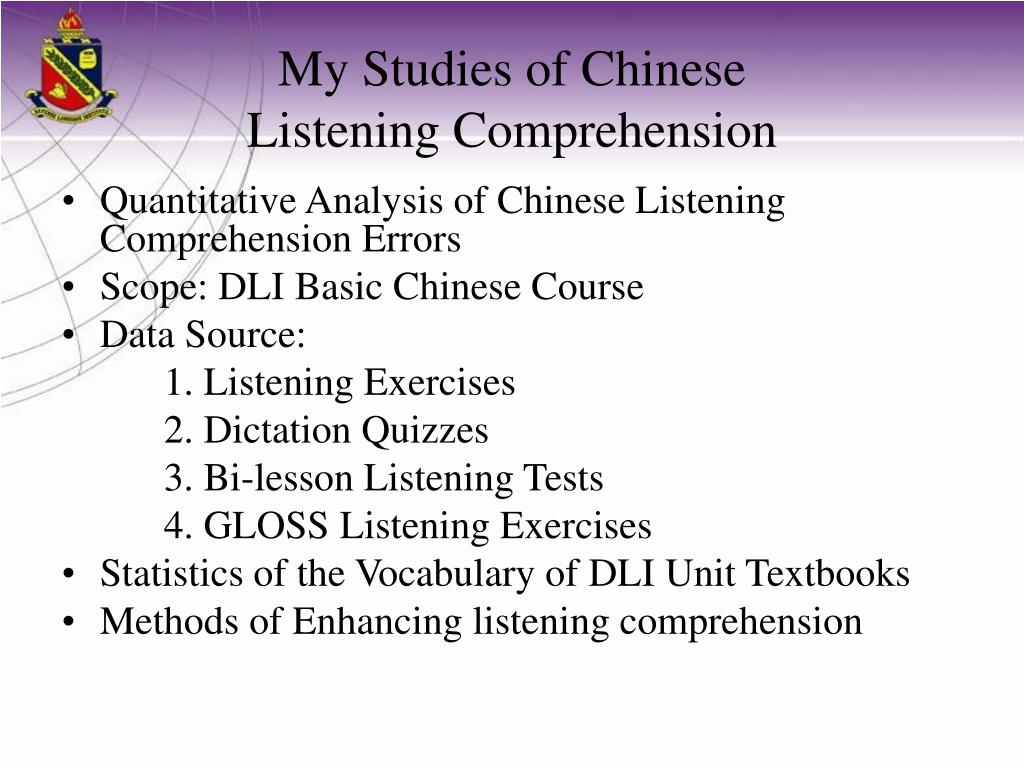 PPT - Listening Comprehension Enhanced Through