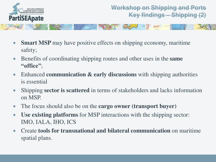 Workshop on Shipping and Ports
