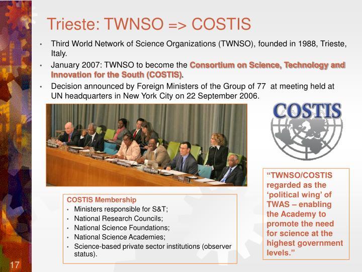 Trieste: TWNSO => COSTIS