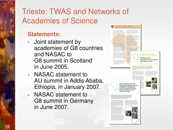 Trieste: TWAS and Networks of Academies of Science