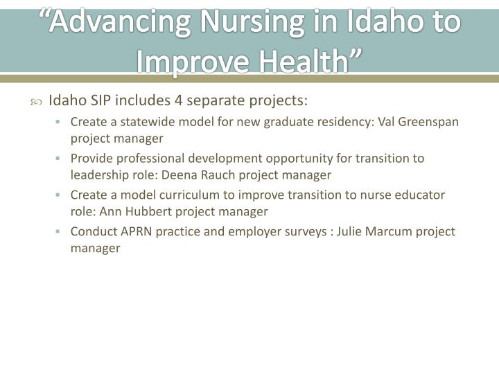 """Advancing Nursing in Idaho to Improve Health"""