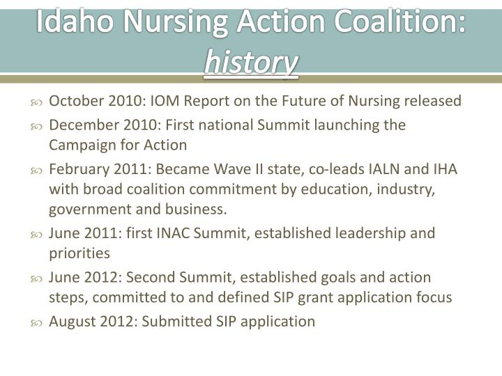 Idaho nursing action coalition history