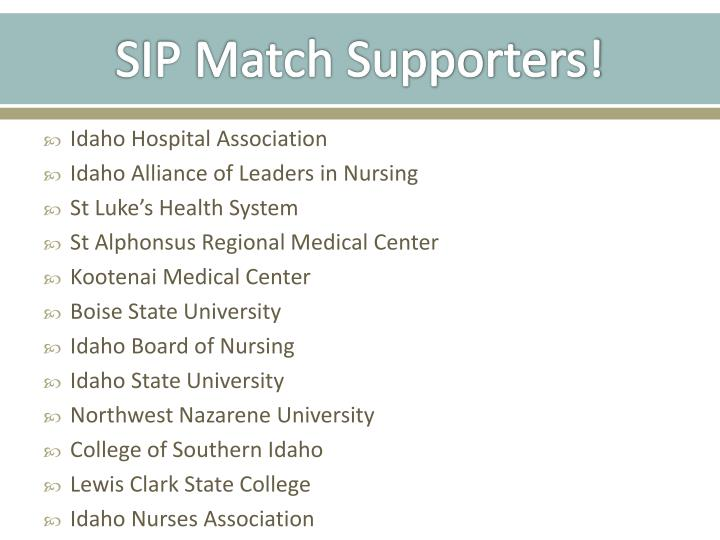 SIP Match Supporters!