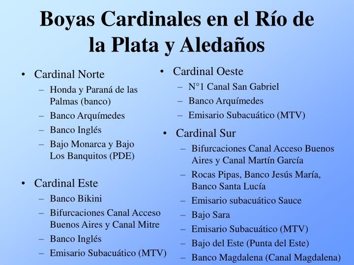 Boyas Cardinales en el Río de la Plata y Aledaños