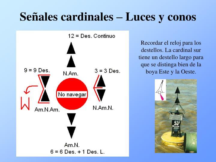 Señales cardinales – Luces y conos