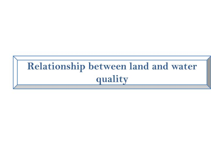 Relationship between land and water quality