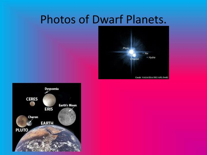 Photos of Dwarf Planets.