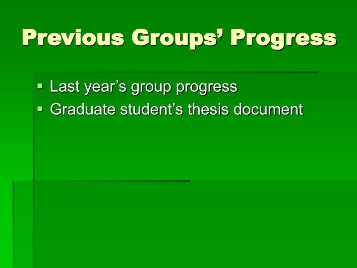 Previous Groups' Progress