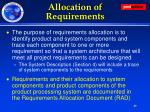 allocation of requirements