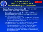 customer needs iasi l1ct products that includes principal components