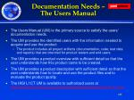 documentation needs the users manual