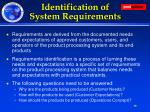 identification of system requirements