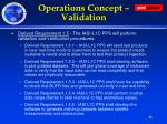 operations concept validation
