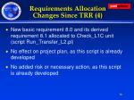 requirements allocation changes since trr 4