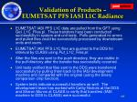 validation of products eumetsat pfs iasi l1c radiance
