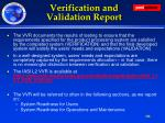 verification and validation report