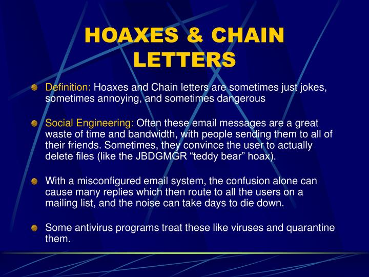 HOAXES & CHAIN LETTERS
