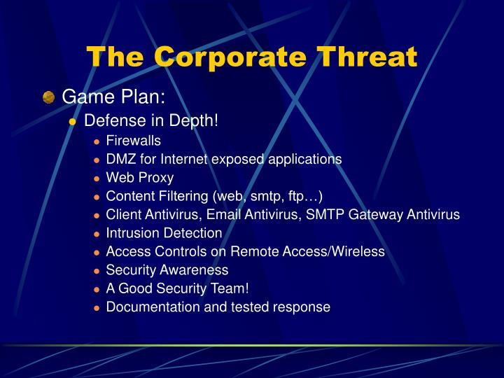 The Corporate Threat