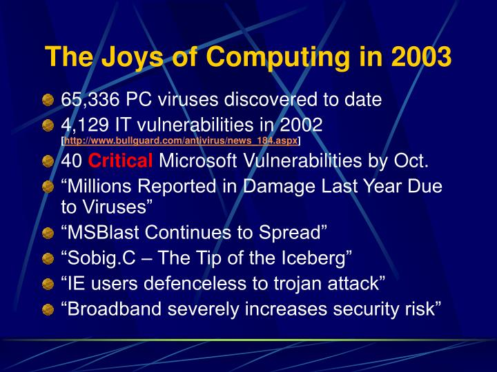 The joys of computing in 2003