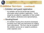 exhibitor services continued1