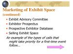 marketing of exhibit space continued2