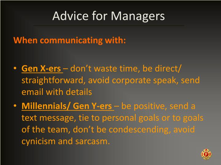 Advice for Managers