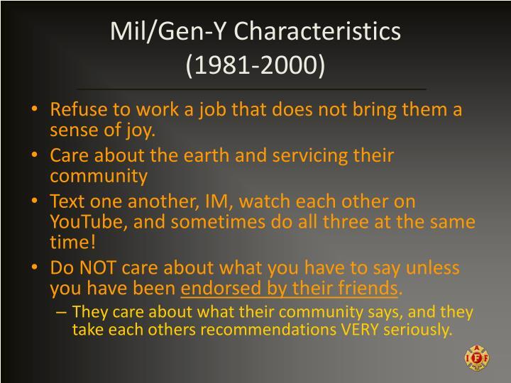 Mil/Gen-Y Characteristics