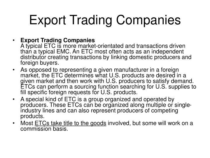 Export Trading Companies