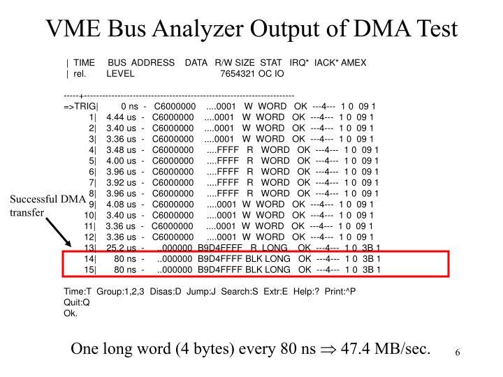 VME Bus Analyzer Output of DMA Test