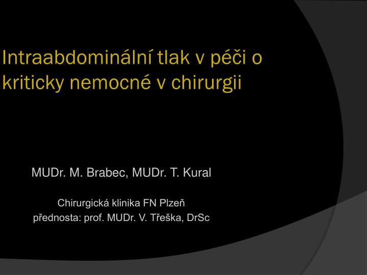 intraabdomin ln tlak v p i o kriticky nemocn v chirurgii n.