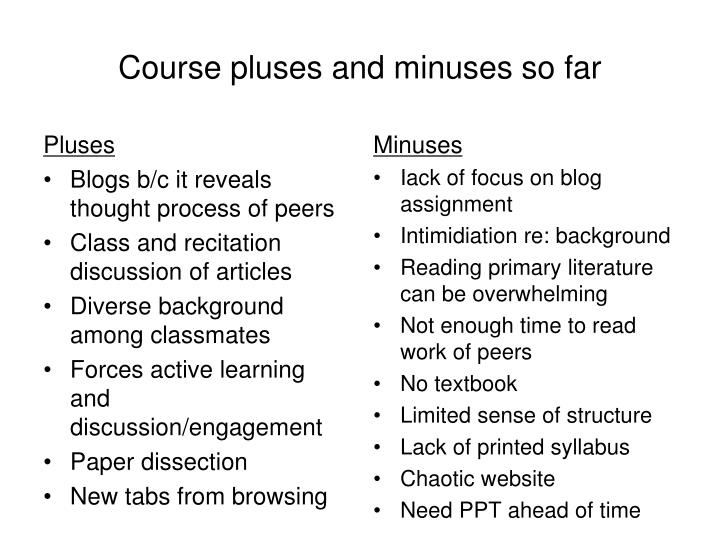 Course pluses and minuses so far