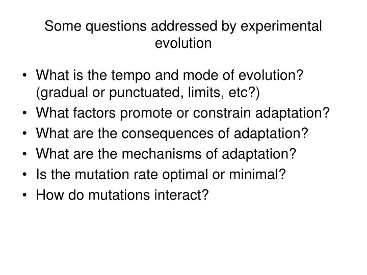 Some questions addressed by experimental evolution