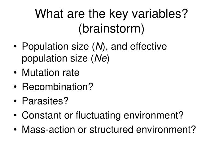 What are the key variables? (brainstorm)
