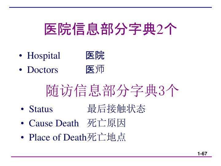 医院信息部分字典