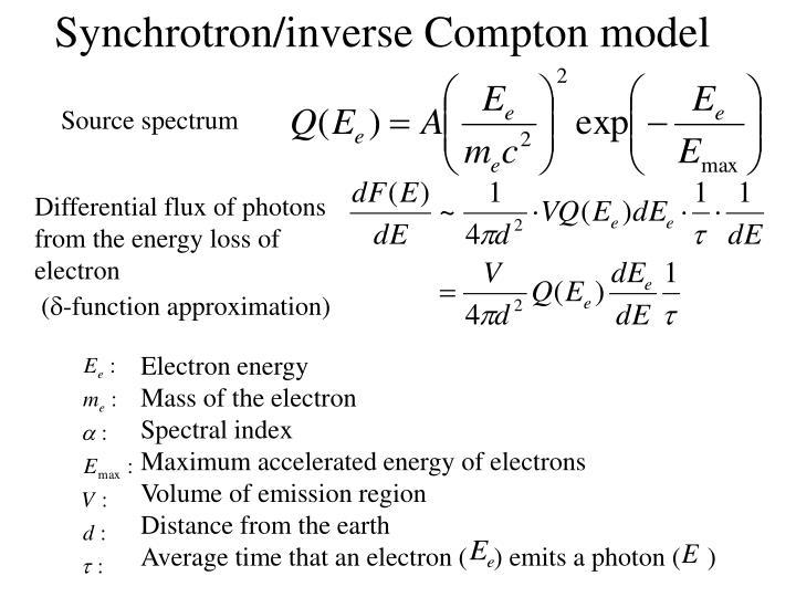 Synchrotron/inverse Compton model